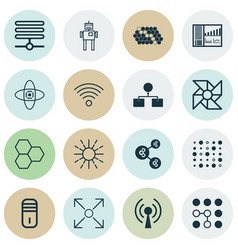 set of 16 machine learning icons includes vector image
