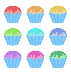 set of flat colored isolated cakes drizzled vector image