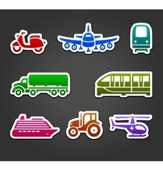 Set of sticky stickers transport color symbols vector image