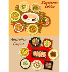 Singaporean and australian cuisine dishes icon vector