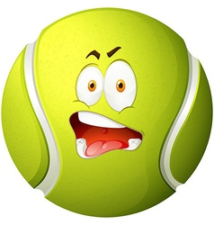 Tennis ball with silly face vector
