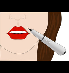 the procedure of permanent make-up of lips vector image vector image