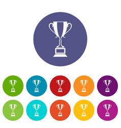 trophy cup set icons vector image