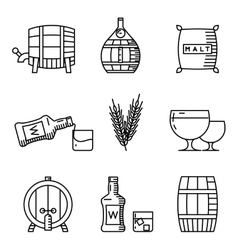 Whisky thin line icons industry outline vector