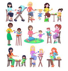 young mothers feeding babies set kindergarten vector image vector image