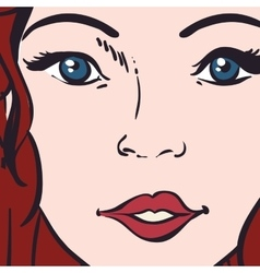 Woman pop art female avatar retro icon vector