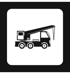 Machine with crane icon simple style vector