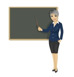 Female teacher with pointer next to chalkboard vector