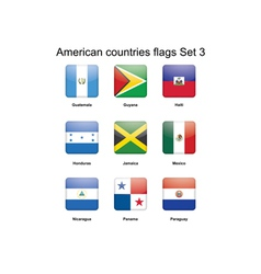 American countries flags set 3 vector