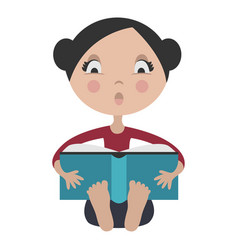 Cartoon girl reading exciting book vector