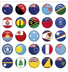 Set of Australian Oceania Round Flag Icons vector image