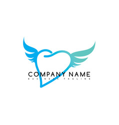 romance heart wing brand company template logo vector image
