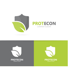 shield and leaf logo combination vector image