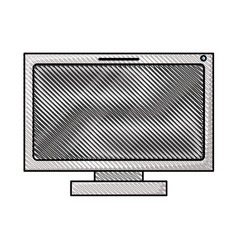 Colored pencil silhouette of lcd monitor vector