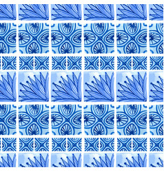 Watercolor blue floral seamless pattern vector