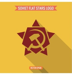Logo star hammer and sickle flat style vector image