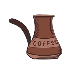Colored doodle turk to brew coffee vector