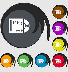 Mp3 player icon sign symbols on eight colored vector