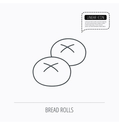 Bread rolls or buns icon natural food sign vector