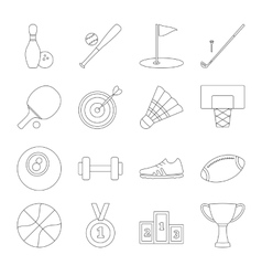 Sport line icons set vector