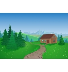 Beautiful landscape with house vector