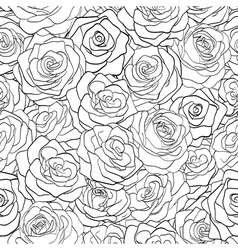 black and white seamless pattern in roses vector image