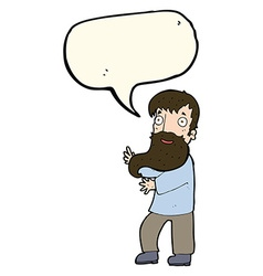 Cartoon excited bearded man with speech bubble vector