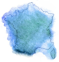 France watercolor map vector