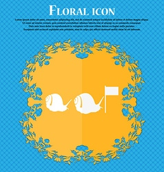 Fast snail icon floral flat design on a blue vector