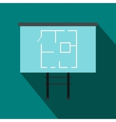 Project of house on a board icon flat style vector