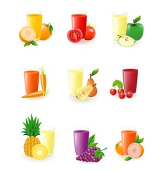Set of icons with fruit juice vector