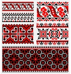 Ethnic urkaine embroidery set vector
