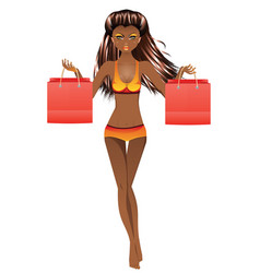 afro american girl in swimsuit vector image vector image