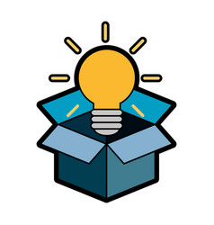 Box with bulb ico vector
