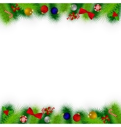 Branches of Christmas tree decorated vector image