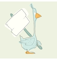 Cartoon character goose with wooden poster vector
