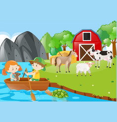 Children rowing boat in the farmyard vector