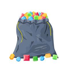 Cloth fabric money bag full of various diamonds vector