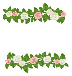 colorful border crown of leaves with roses floral vector image
