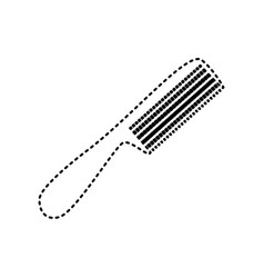 comb simple sign black dashed icon on vector image