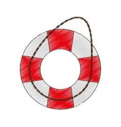 Drawing life buoy safety travel vector