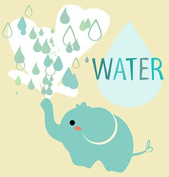 elephant with water vector image