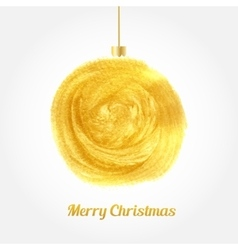 Golden watercolor painted christmas ball vector