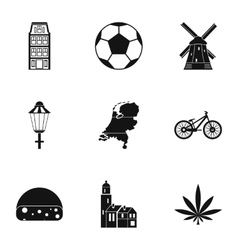 Holland icons set simple style vector