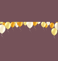 Horizontal banner with golden and white helium vector
