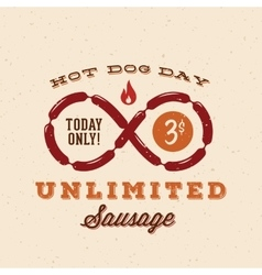 Hot dog day with unlimited sausage vintage vector