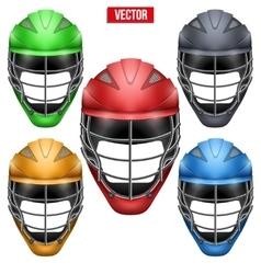 Lacrosse helmets set front view vector