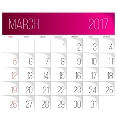March 2017 calendar template vector