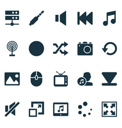 Music icons set with mute musical note cast and vector