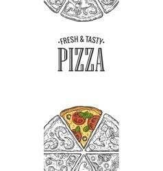 Poster with slice pizza pepperoni hawaiian vector